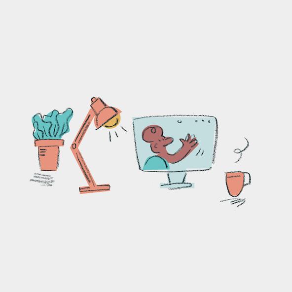 An expressive sketch of a work setup