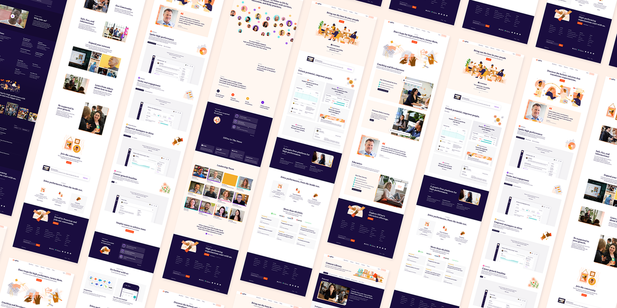 A grid of webpages designed for 15Five