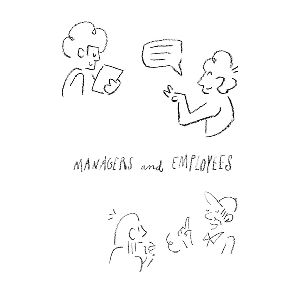 """A sketch of four people in discussion with text that reads """"Managers and Employees"""""""