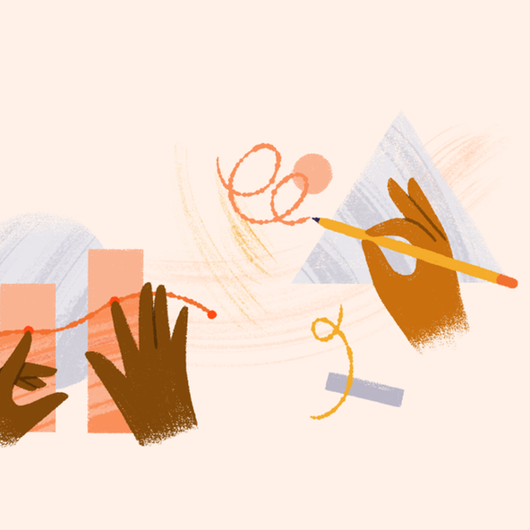 Illustrated hands at work