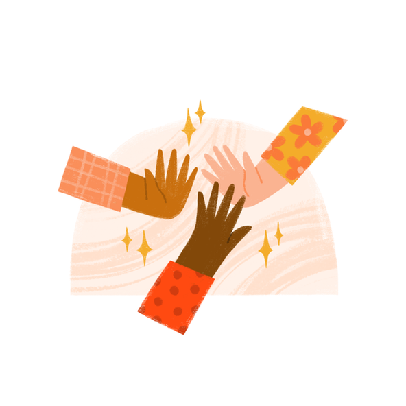 Three hands come together in a high-five