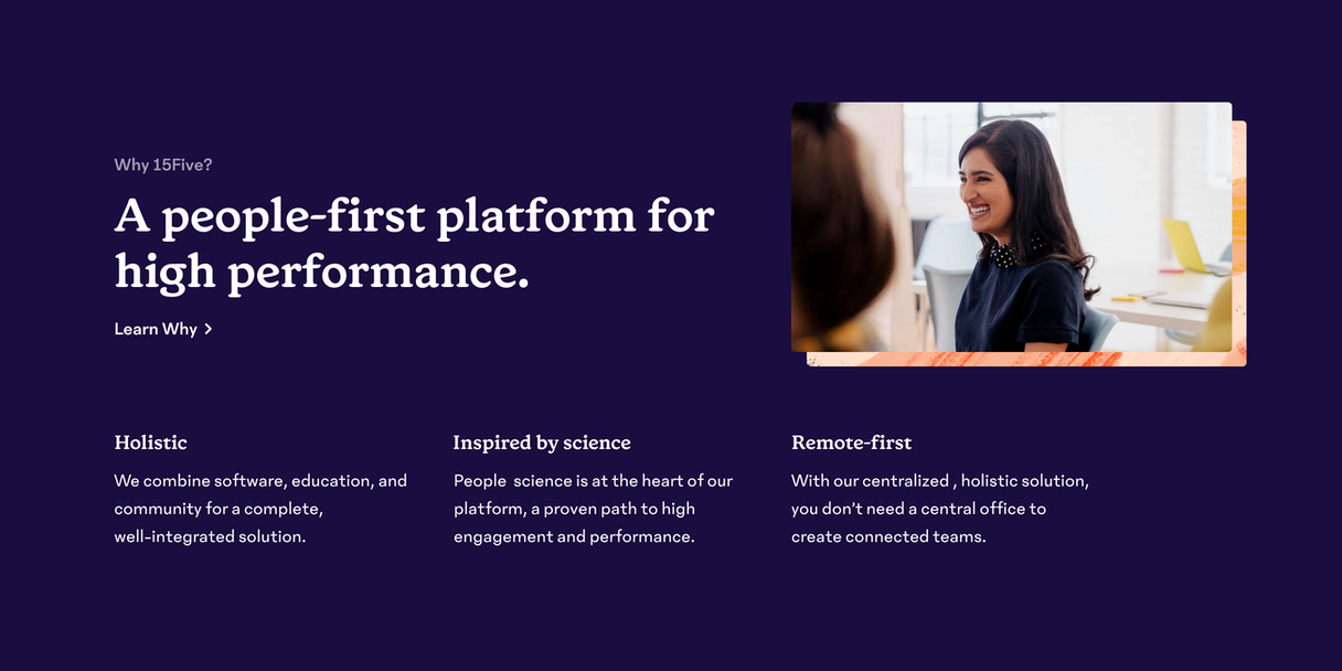 """""""A people-first platform for high performance"""""""
