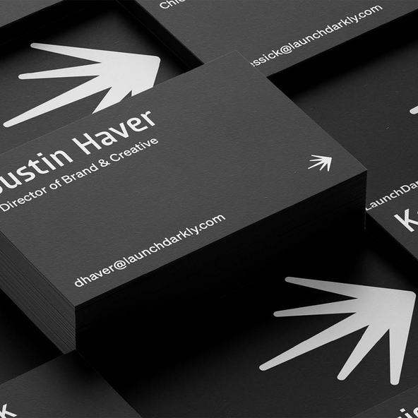 A mockup of LaunchDarkly business cards