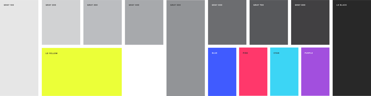 The LaunchDarkly color palette. It consists of a full scale of grays and a few bright colors for contrast.