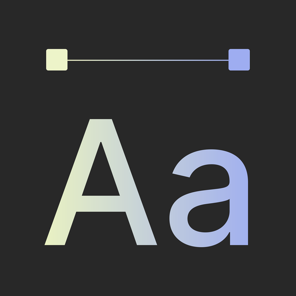 Letters showing the gradient treatment from yellow to blue