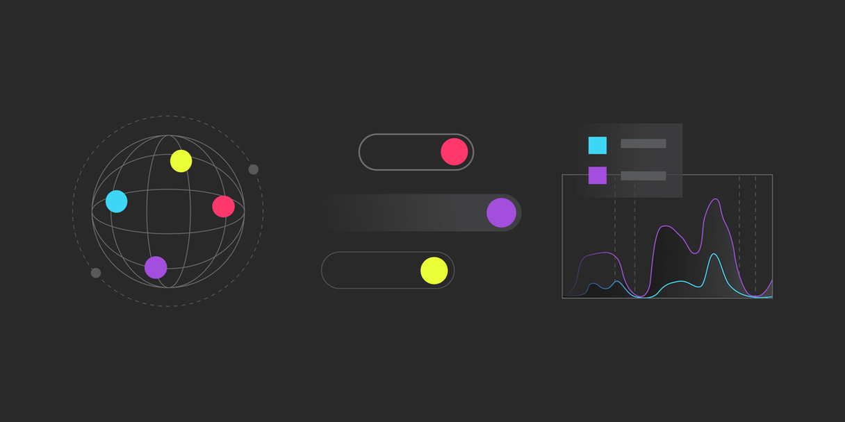 Three colorful abstract infographics in the LaunchDarkly visual language