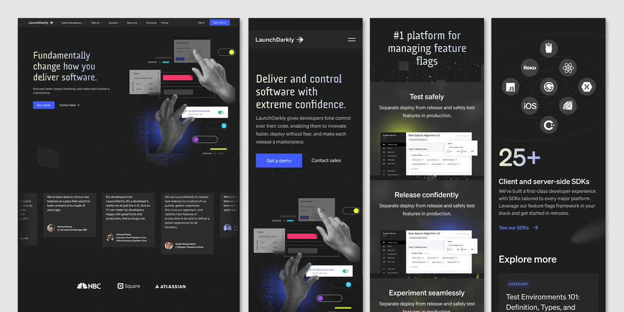 A look at the LaunchDarkly homepage and accompanying mobile versions