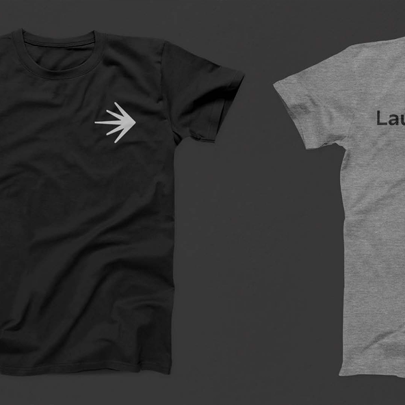 A T-shirt mockup with LaunchDarkly branding