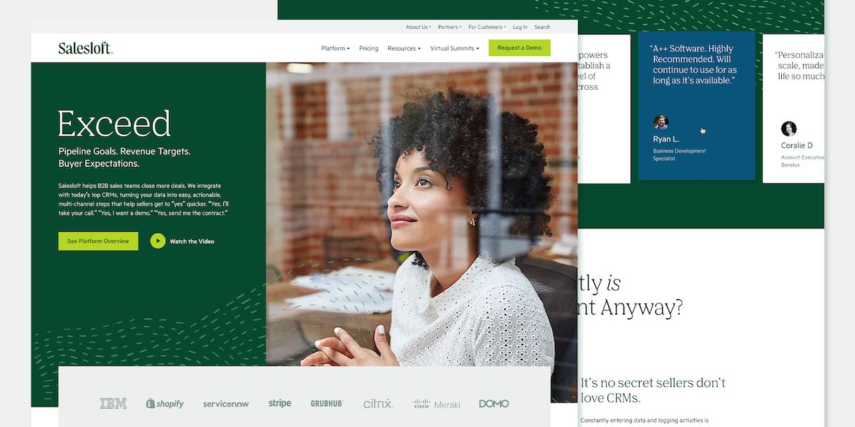 Salesloft homepage design