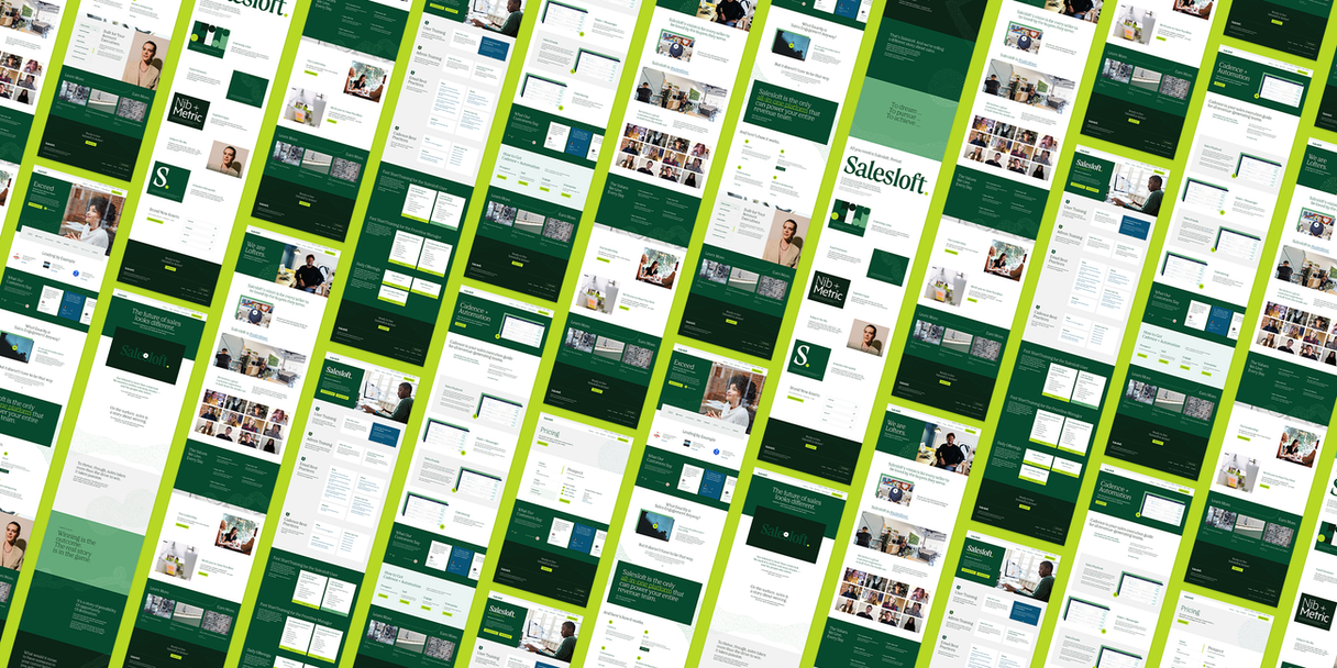 A grid of many web pages designed with Salesloft