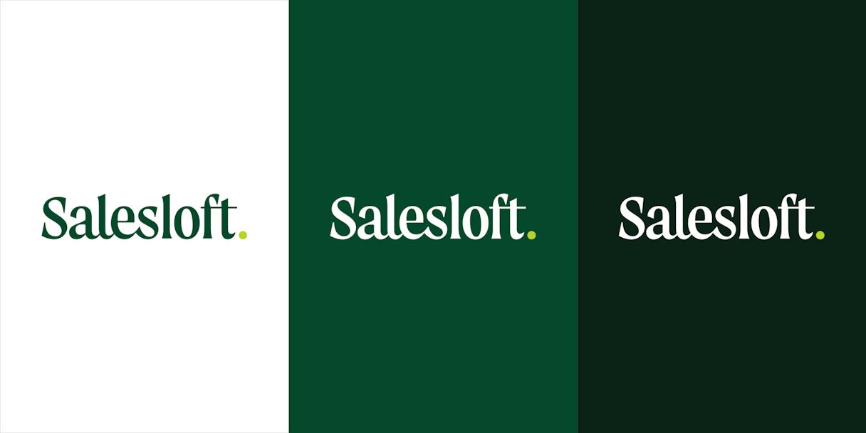 Salesloft logotype on three backgrounds