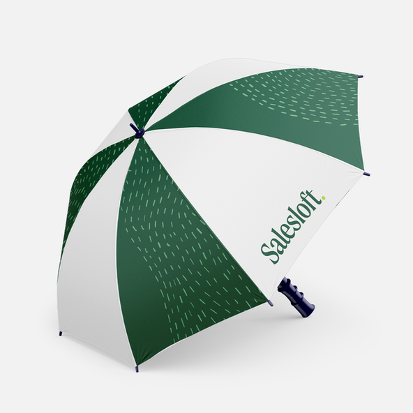 A branded umbrella with the Salesloft pattern