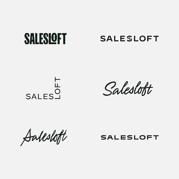 Early Salesloft wordmark explorations