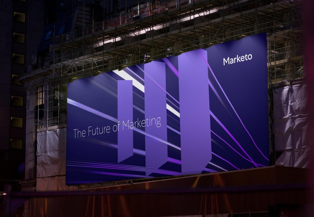 "A large tradeshow banner that reads ""The Future of Marketing"""