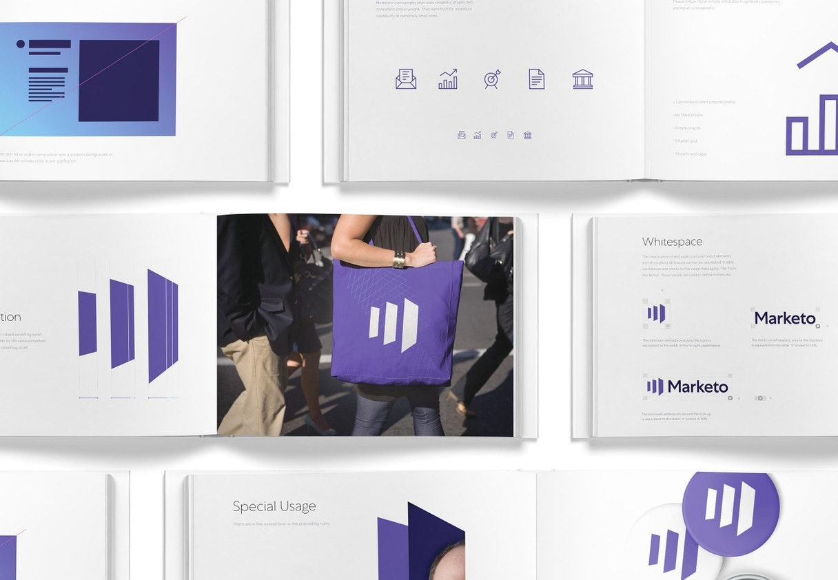 A brand guidelines booklet for Marketo