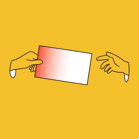 An illustrated hand gives a spreadsheet rectangular cell to another hand.