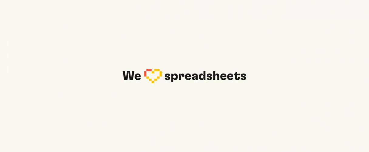 """We """"heart"""" spreadsheets with a pixel heart created with the Rows mark"""