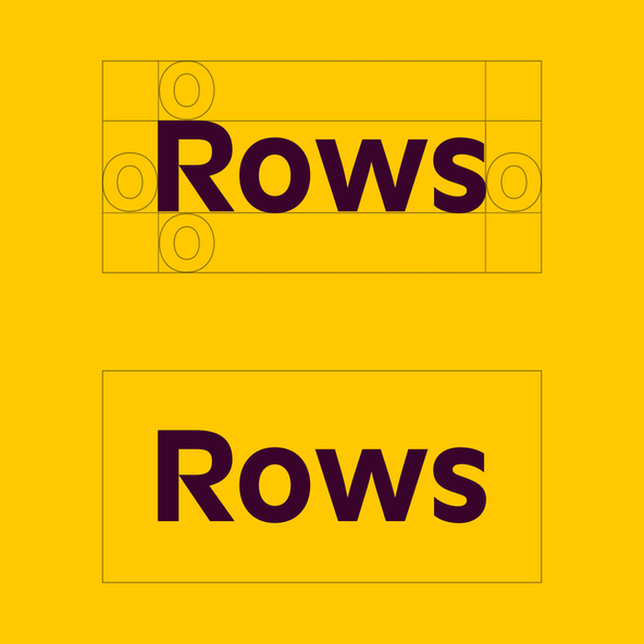A custom logotype: Rows on yellow, showing necessary padding around the word.