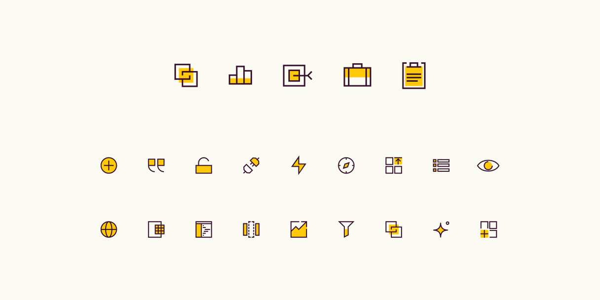 Various icons created for Rows. A yellow highlight color indicates the icon is active.