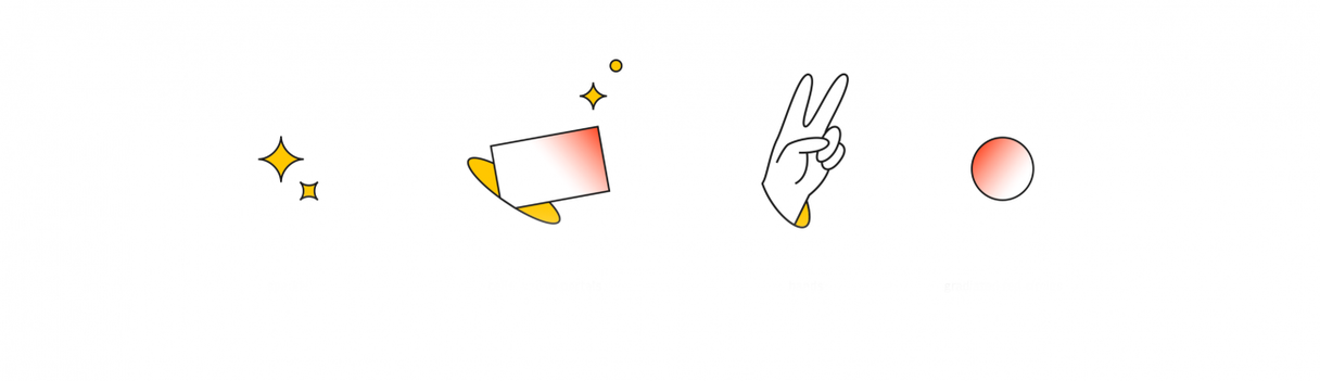 """4 vector illustrations - sparkles, a rectangular cell coming out of a portal, a """"peace sign"""" hand, and a gradient circle."""