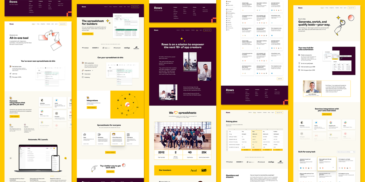 Multiple pages from the Focus Lab website displayed in a grid